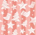 Christmas background, sock, star, tree, seamless, pink, vector.