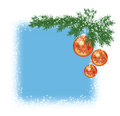 Christmas background the square of with spruce branch and three balls Royalty Free Stock Photos