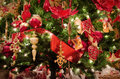 Christmas background tree and decoration closeup Royalty Free Stock Photo