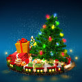 Christmas background tree gifts and railroad on blue Stock Image