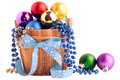 Christmas background with wood bucket and color balls Royalty Free Stock Photo