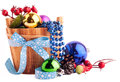 Christmas background with wood bucket cones color balls and be berries for beautiful holiday design Stock Photos