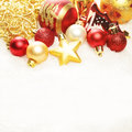 Christmas Background. Xmas Decorations Border on Snow Royalty Free Stock Photo