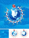 Christmas backgrounds four vector of santa klaus flight round the globe with america europe africa and asia Stock Photos
