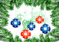 Christmas backgrounds illustration with colorful multi colored balls and branches of tree greeting card bright winter Royalty Free Stock Photography