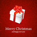 Christmas backround with christmas box with ribbon Stock Image