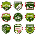 Christmas badges set of vintage and emblems Stock Images