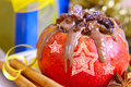 Christmas baked apple. Stock Image