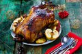 The Christmas baked goose with apples Royalty Free Stock Photo