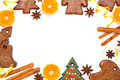 Christmas bakery frame with gingerbread and spices Royalty Free Stock Image