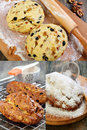 Christmas baking collage cooking stollen dough with candied fruits and nuts Stock Photos