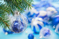 Christmas ball on blue spruce branch Royalty Free Stock Photography