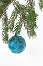 Christmas ball on a branch of Christmas tree Royalty Free Stock Photos