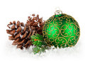 Christmas ball with branch firtree Royalty Free Stock Photo