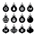 Christmas ball christmas bauble icons set winter holiday of tree balls isolated on white Stock Photos