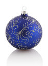 Christmas ball christmas ornament blue color isolated over white Stock Photography
