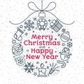 Christmas ball consisting of christmas icons line style and sign