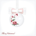 Christmas ball cute with tender bow Stock Photography