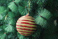 Christmas ball decoration red with golden srtipes tree ornaments Stock Photo