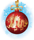 Christmas ball with dragon Royalty Free Stock Photos