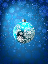 Christmas ball on falling flakes template. EPS 8 Royalty Free Stock Photography