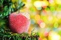 Christmas ball with fir tree Royalty Free Stock Image