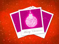 Christmas ball frame on staryy red background illustration with three photo Royalty Free Stock Images