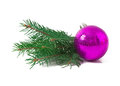 Christmas ball and green spruce branch isolated white background Royalty Free Stock Photos