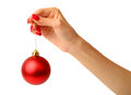 Christmas ball hand holding on white background Stock Photo