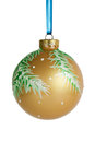 Christmas ball hanging on ribbon Royalty Free Stock Image