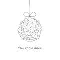 Christmas ball, made of sheep wool.