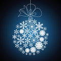 Christmas ball made of snowflakes, vector blue background, vecto