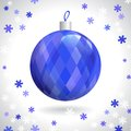 Christmas ball multicolored with pattern of squares on background of snowflakes vector illustration eps Royalty Free Stock Photos