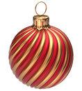 Christmas ball New Year's Eve bauble decoration golden red Royalty Free Stock Photo