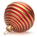 Christmas ball New Year's Eve decoration bauble red golden Royalty Free Stock Photo