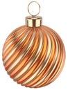 Christmas ball New Years Eve bauble decoration orange gold Royalty Free Stock Photo