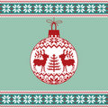 Christmas ball with nordic pattern Royalty Free Stock Photography