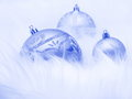 Christmas ball ornaments stock photos blue tree decoration on snow background Royalty Free Stock Photo