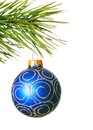 Christmas ball on pine branch white background Stock Photography