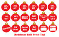 Christmas Ball Price Tag Royalty Free Stock Photography