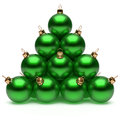 Christmas ball pyramid green New Year's Eve bauble group Royalty Free Stock Photo