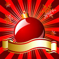 Christmas ball and ribbon over red Royalty Free Stock Photography