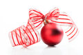 Christmas ball with ribbon selective focus Stock Photography