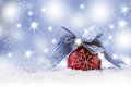 Christmas ball,ribbon snow and space abstract background. Royalty Free Stock Photo