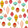 Christmas ball seamless pattern colourful winter holiday xmas decoration sphere new year festival flat design vector