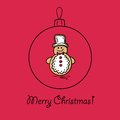 Christmas ball with snowman vector illustration you can use it for design of greeting card Stock Photo