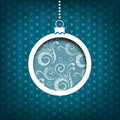 Christmas ball swirls decoration vintage style blue background collection Royalty Free Stock Photos