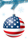 Christmas ball with US flag. Stock Photos