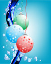 Christmas ball with water drops on blue background Stock Photo