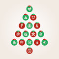 Christmas balls abstract tree made of Royalty Free Stock Photos